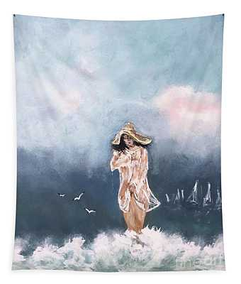 Woman On The Beach Tapestry