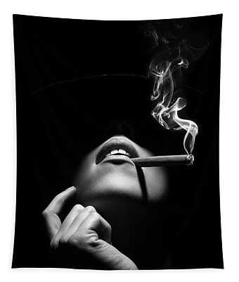 Woman Smoking A Cigar Tapestry
