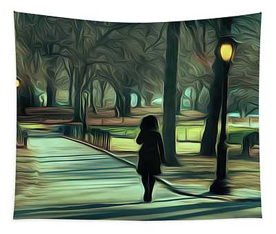 Woman Walking In Central Park Tapestry