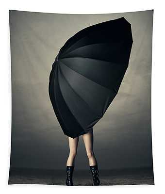 Woman With Huge Umbrella Tapestry