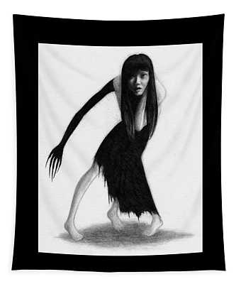 Woman With The Black Arm Of Demon Ghost - Artwork Tapestry