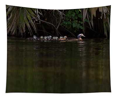 Wood Duck And Ducklings Tapestry