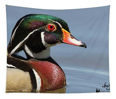 Wood Duck Portrait Tapestry