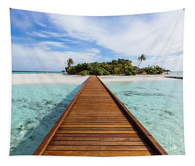 Wooden Jetty To A Tropical Island, Maldives Tapestry
