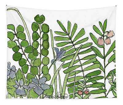 Woodland Ferns Violets Nature Illustration Tapestry
