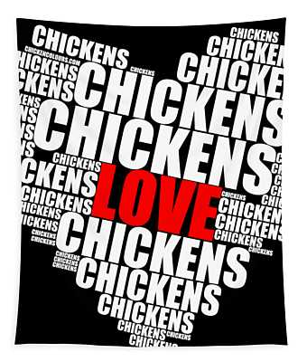 Word Cloud White Love Chickens Tapestry