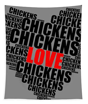 Wordcloud Love Chickens Black Tapestry