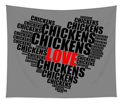 Wordcloud Love Chickens Black Tapestry