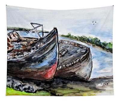 Wrecked River Boats Tapestry