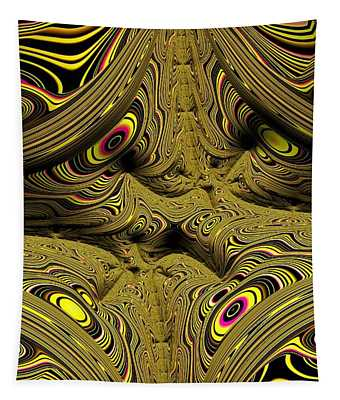 Wrinkles And Eyes Yellow Fractal Abstract Tapestry