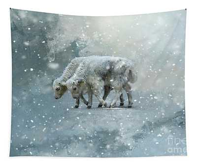 Yaks Calves In A Snowstorm Tapestry