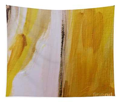 Tapestry featuring the painting Yellow #5 by Maria Langgle
