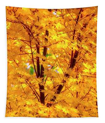 Yellow Autumn Leaves Tapestry