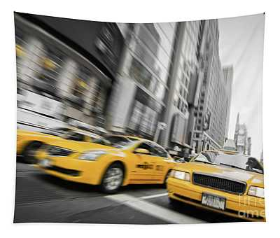 Yellow Cabs In New York Tapestry