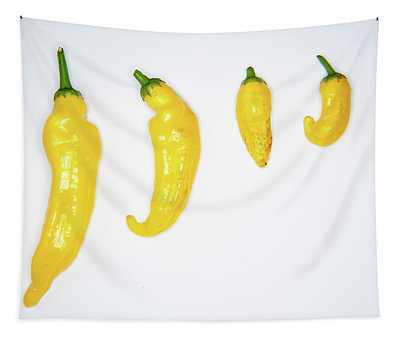 Yellow Chillies Lined Up II Tapestry