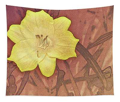 Yellow Day Lily Stencil On Sandstone Tapestry
