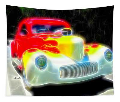 Yellow Flames On A Red Hot Car Tapestry