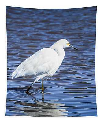 Snowy Egret - Malibu Lagoon State Beach - Square Tapestry