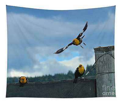 Yellow Headed Blackbirds Tapestry