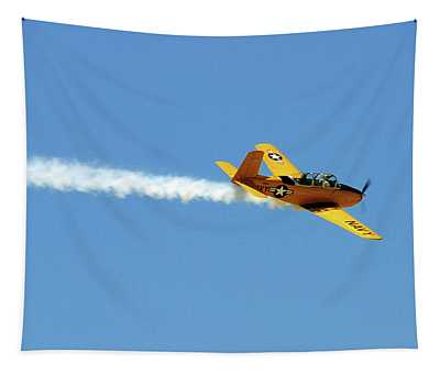 Yellow Navy Plane Tapestry