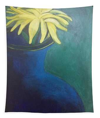 Yellow On Blue Tapestry