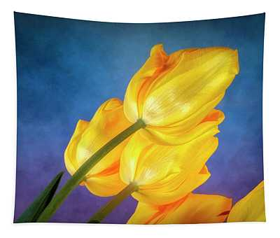 Yellow Tulips On Blue Tapestry