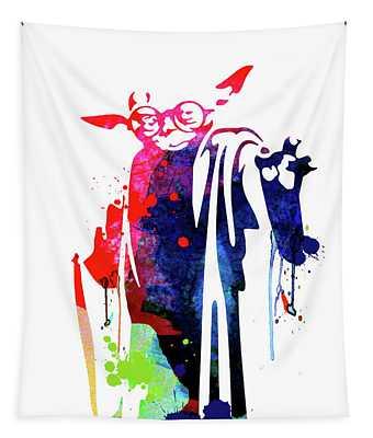 Yoda Wearing Classes Watercolor Tapestry