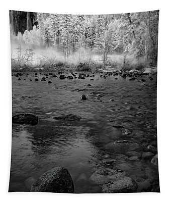 Yosemite River In Bw Tapestry