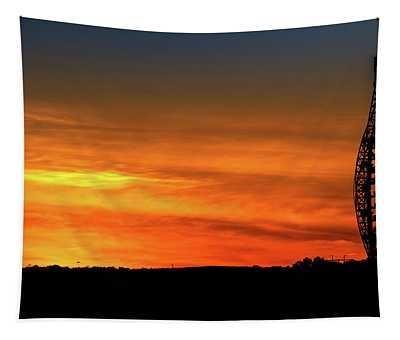 Vertical Roller Coaster At Sunset Tapestry