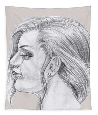 Young Woman Head Study Profile Tapestry