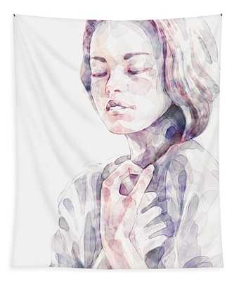 Young Woman Portrait Abstract Watercolors Painting Tapestry