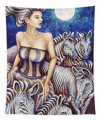 Zebra Moon Tapestry