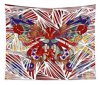 Zen Butterfly Abstract Digital Mixed Media Artwork By Omaste Witkowski Tapestry