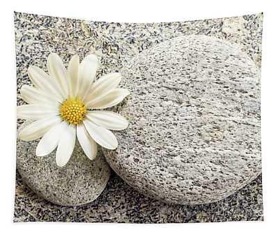 Zen Stone And Daisy Tapestry