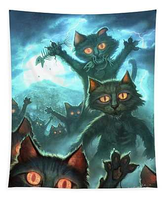 Zombie Cats Tapestry