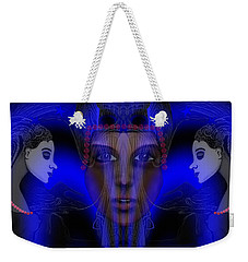 029 - Meeting  Electric Blue   Weekender Tote Bag by Irmgard Schoendorf Welch