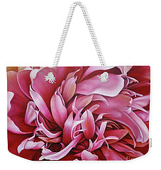 Abstract Peony Weekender Tote Bag by Paula Ludovino