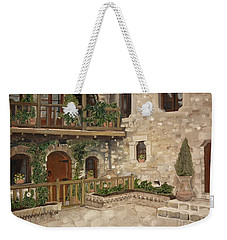 Greek Courtyard - Agiou Stefanou Monastery -balcony Weekender Tote Bag