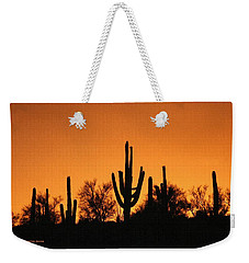 Weekender Tote Bag featuring the photograph  Arizona Sagurao Sunset by Tom Janca