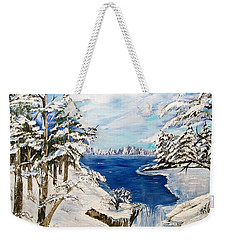 Weekender Tote Bag featuring the painting  Blanket Of Ice by Sharon Duguay