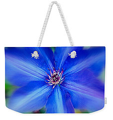 Blue Clematis Weekender Tote Bag by Nick Kloepping