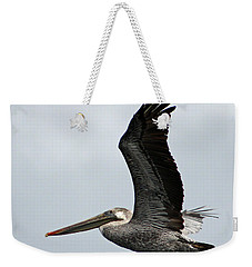 Brown Pelican In Flight Weekender Tote Bag