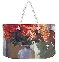 Chrysanthemums In Vase Weekender Tote Bag