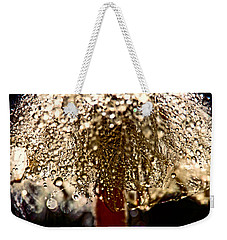 Weekender Tote Bag featuring the photograph  Dandelion Dew In Bronze by Peggy Collins