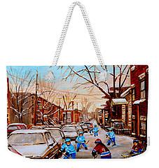 Hockey Art- Verdun Street Scene - Paintings Of Montreal Weekender Tote Bag