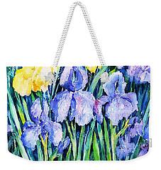 Irises  Weekender Tote Bag by Trudi Doyle