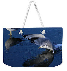 Weekender Tote Bag featuring the photograph  Landing On Icy Water by Emmy Marie Vickers
