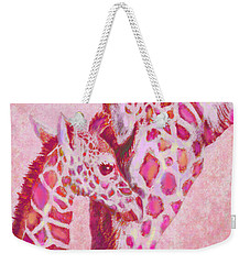Loving Pink Giraffes Weekender Tote Bag by Jane Schnetlage