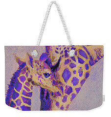 Loving Purple Giraffes Weekender Tote Bag by Jane Schnetlage