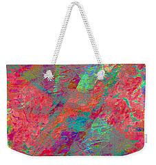 Weekender Tote Bag featuring the digital art  Magenta Poppy Rock by Stephanie Grant